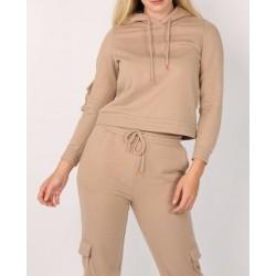 Pieces 17106959 Kadın Bej Renk Kapüşonlu Sweatshirt