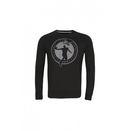 Cazador Erkek Siyah Bisiklet Yaka Basketbol Baskılı Sweatshirt 20KCEEO05142