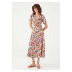 Mavi Çiçek Baskılı Turuncu Elbise 131062-33930
