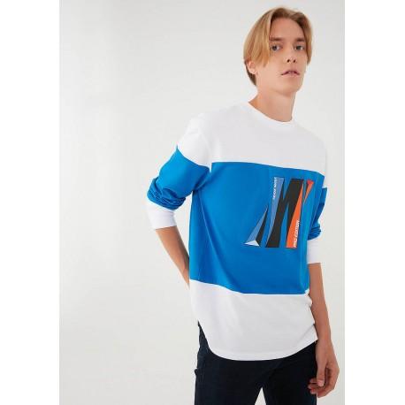 M Baskılı Uzun Kollu Beyaz Tişört